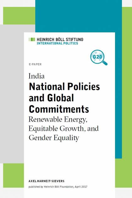 India - national policies and global commitments: renewable energy, equitable growth, and gender equality